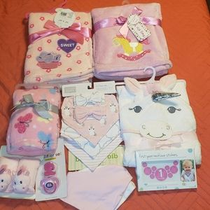 Baby girl blankets towel pacifier bibs unicorn
